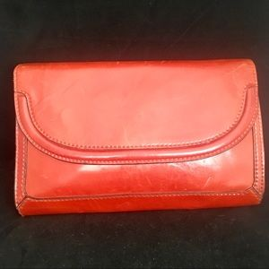 Ronora Italian Leather Clutch Burnt Red Snap VTG